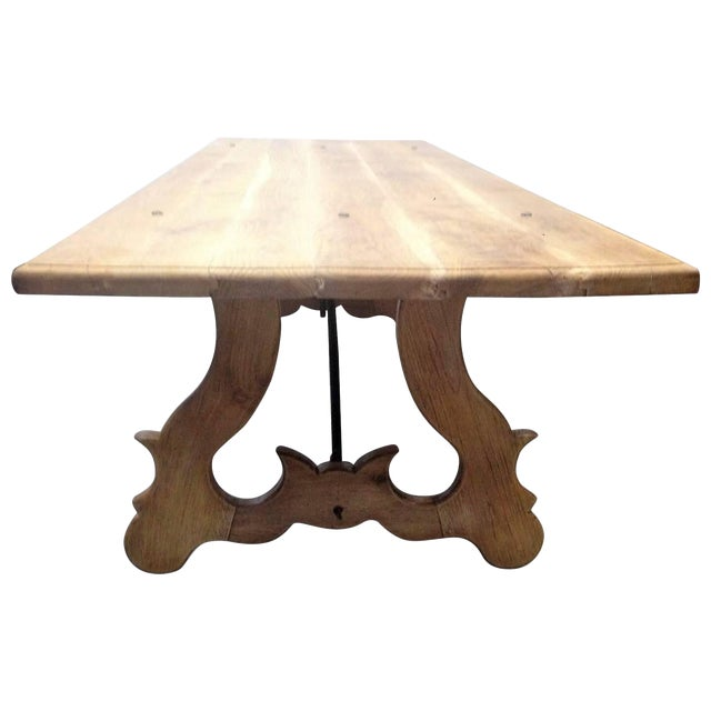 19th Century Spanish Farm Trestle Lyre Leg Dining Room Table With Forged Iron For Sale