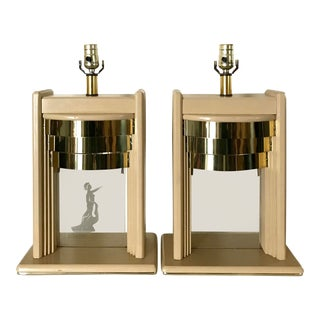 Post Modern Tiered Brass Table Lamps - a Pair For Sale