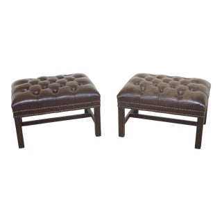 1980s Vintage Hancock & Moore Chippendale Leather Ottomans- A Pair For Sale
