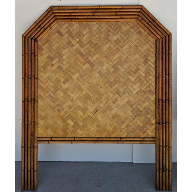These are a great pair of faux bamboo framed twin headboards, made in Taiwan. There 5 rows of the carved wood in the shape...