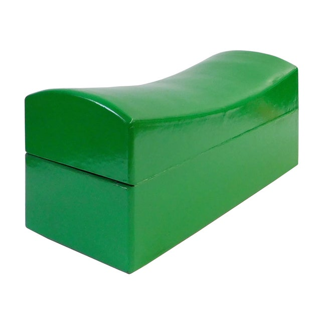Chinese Green Pillow Shaped Box For Sale - Image 4 of 5