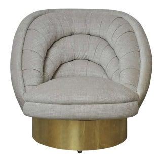 Vladimir Kagan Crescent Swivel Chair on Brass Base For Sale