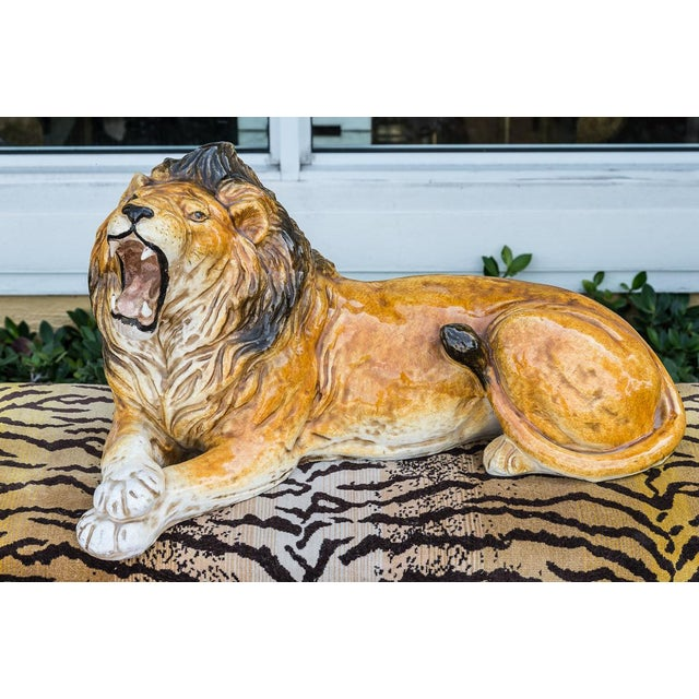 Ceramic Italian Terra-Cotta Glazed Roaring & Crouching Lion, Made in Italy For Sale - Image 7 of 9