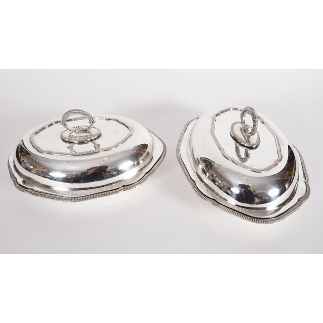 Vintage pair of English silver plated / copper covered tableware entree dishes / server. Each one is in excellent vintage...