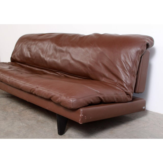 Metal DeSede Ds169 Brown Leather Convertible Sofa For Sale - Image 7 of 12