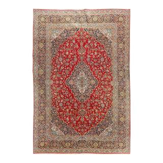 Vintage Kashan Hand Woven Rug 10'4 X 14'5 For Sale
