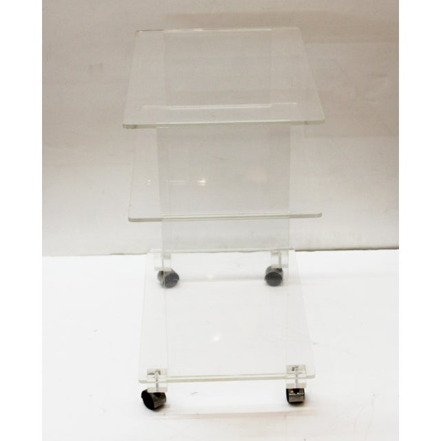 Modern Acrylic Bar Cart or Side Table on Casters For Sale - Image 4 of 9