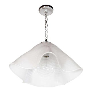 Mid-Century Modernist Murano Glass Handkerchief Chandelier with Chrome Fittings For Sale