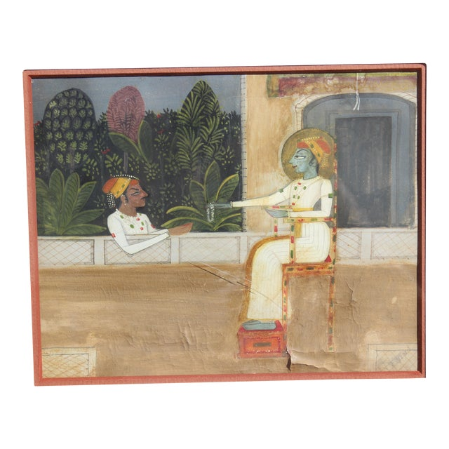 Nice 19/18 C. Indian Gouache Painting For Sale