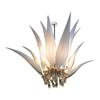 Murano Glass & Brass Italian Leaf Chandelier For Sale