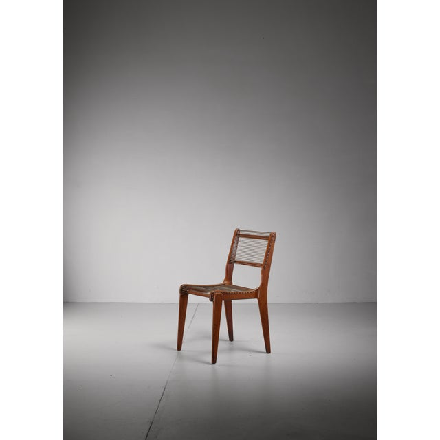 Mid-Century Modern Elegant Studio Crafted Side Chair with a Woven String Seating, USA For Sale - Image 3 of 6
