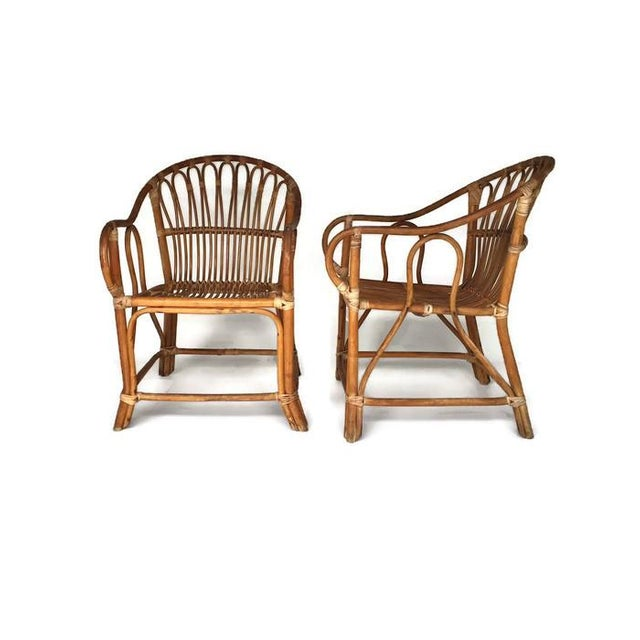 Mid-Century Bamboo Chairs Franco Albini Style Arm Chairs - a Pair - Image 5 of 6