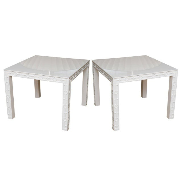 Modern White Lacquered Graphic and Sculptural Side Tables - a Pair For Sale - Image 10 of 10