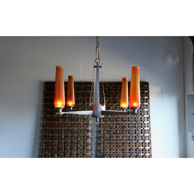 1960s Mid-Century Modern Aluminum and Venini Glass Chandelier For Sale - Image 4 of 9