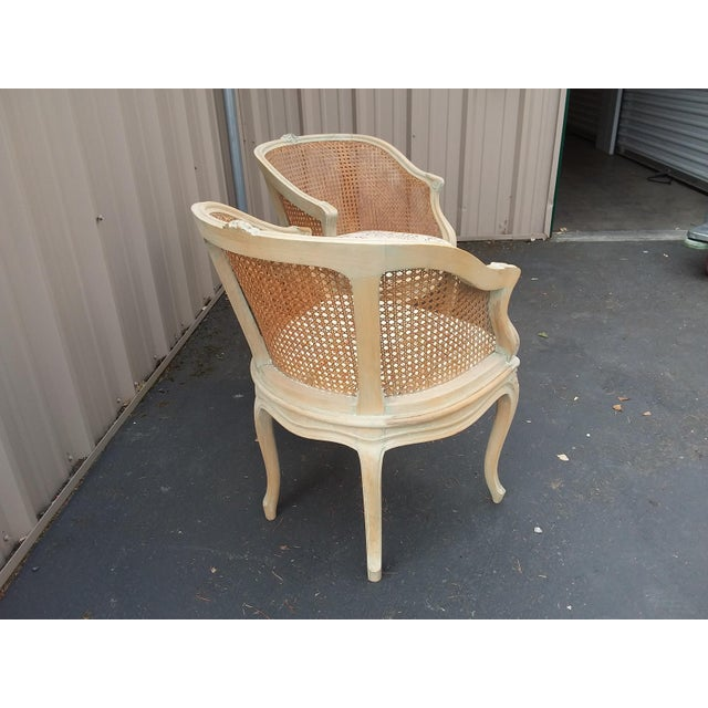 Pair of Italian Barrel Shaped Cane Back Chairs For Sale - Image 4 of 11