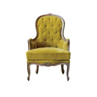 French Style Chartreuse Velvet Classic Armchair For Sale