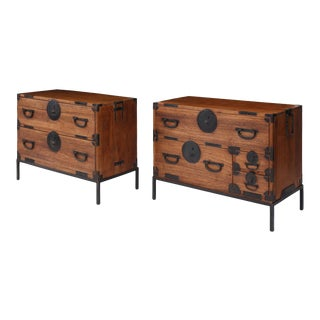 Pair of Tansu Bedside Tables For Sale