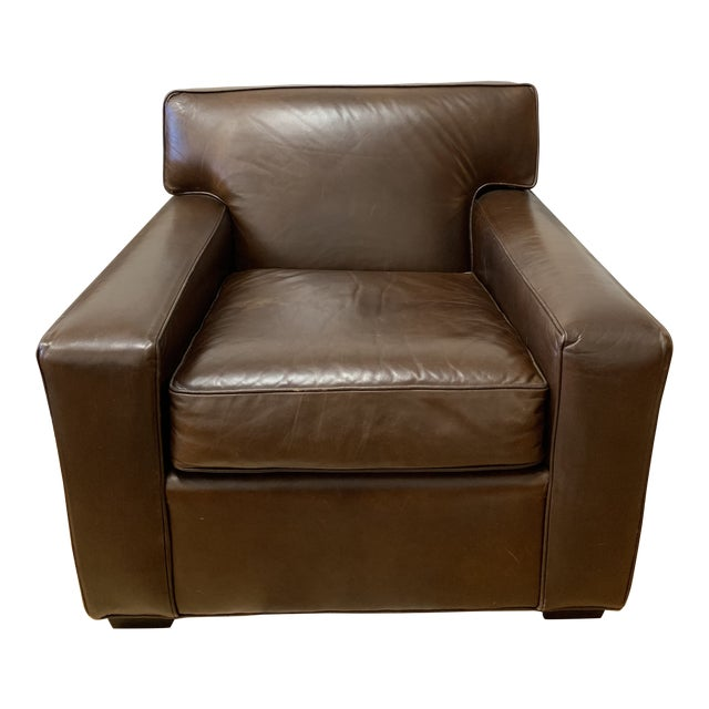Restoration Hardware Mitchell Gold Leather Armchair For Sale