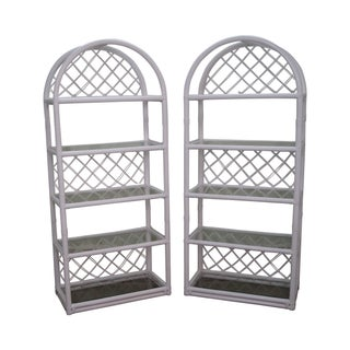 Clark Casual White Rattan Bamboo Etageres - A Pair For Sale