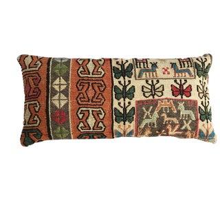 "Custom Made Antique Lumbar Caucasian Sumak Pillow 20"" W For Sale"