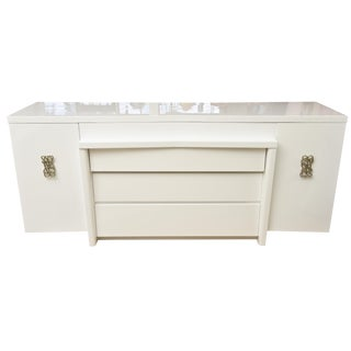 Signed Modernage White Lacquered Wood and Polished Brass Cabinet/Buffet/ Dresser For Sale