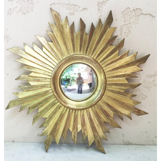 French Gilded Wood Convex Sunburst Mirror For Sale - Image 4 of 4