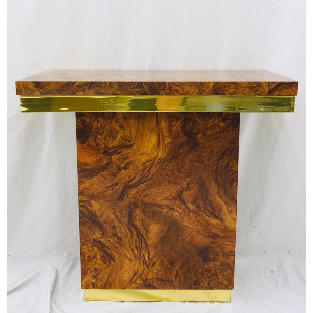Stunning Vintage Mid Century Modern Faux Burl Wood & Brass Parsons Style Entry Way Side Table by Milo Baughman. Original...