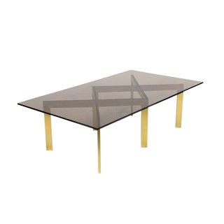 Brass Double X Base Coffee Table by Thayer Coggin For Sale