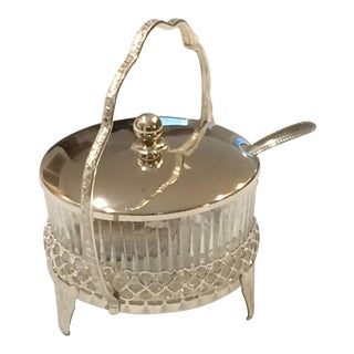 Vintage Mayell & Co Queen Anne Silver Plated Tableware Glass Bowl Caddy With Spoon and Original Box For Sale