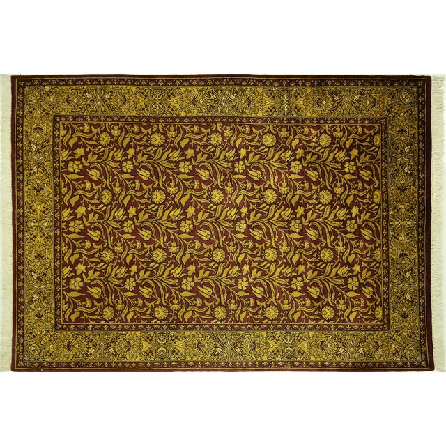 """Suzani Collection Oushak Floral Rug - 6'2"""" x 8'10"""" - Image 1 of 10"""