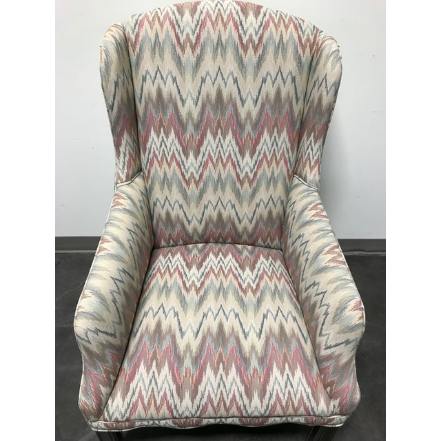 Chippendale Mahogany Chippendale Flame Stitch Wing Chair For Sale - Image 3 of 10