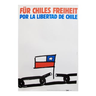 1989 Original Poster for Artis 89's Images Internationales Pour Les Droits De l'Homme Et Du Citoyen - Por La Libertad De Chile For Sale