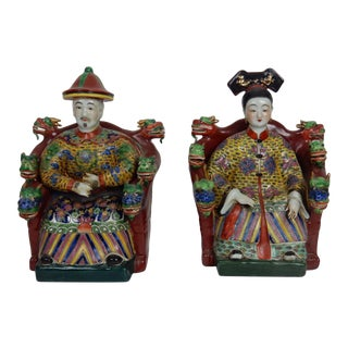 Antique Chinese Famille Rose Emperor & Empress Statues - A Pair