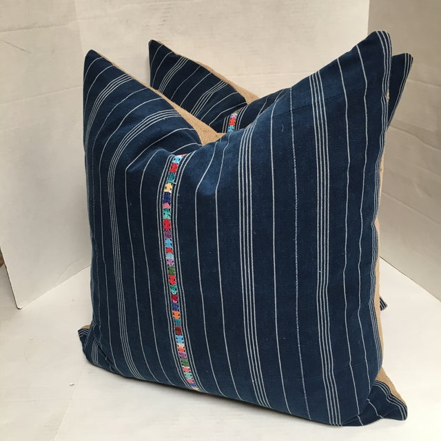 Custom Blue Corte Vintage Fabric Pillows - Pair For Sale - Image 5 of 9