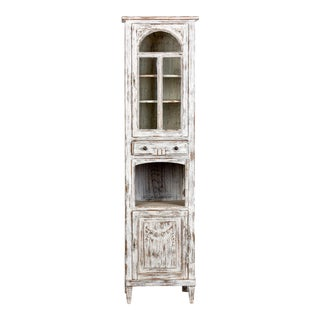 Early 20th Century Tall Narrow French Oak Cabinet With White Paint For Sale