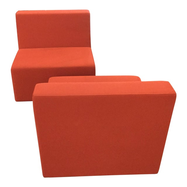 1990s Modern Steelcase Orange Fabric Armless Side Chairs - a Pair - Image 1 of 4