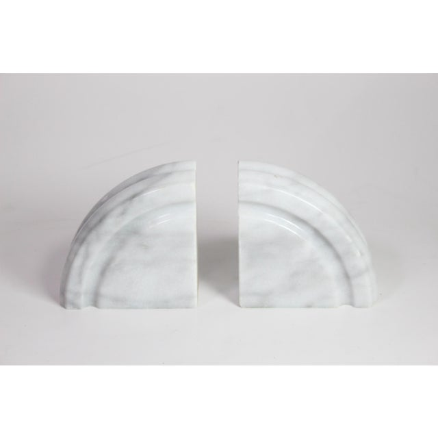 1980s 1980's Post Art Deco White Marble Bookends - a Pair For Sale - Image 5 of 5