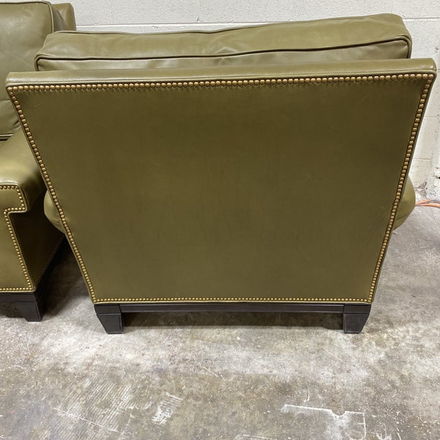2010s Swaim Olive Leather Club Chairs - a Pair For Sale - Image 5 of 13