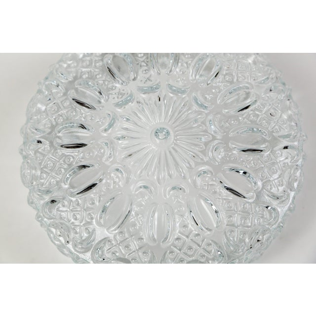 Mid Century Vintage Floral Hatch Limburg Glass Flush Mount (2 Available) For Sale - Image 9 of 10