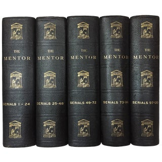 The Mentor, 5 Large Black Leather Books, Early 20th Century Literary Magazine (1913-1916) For Sale