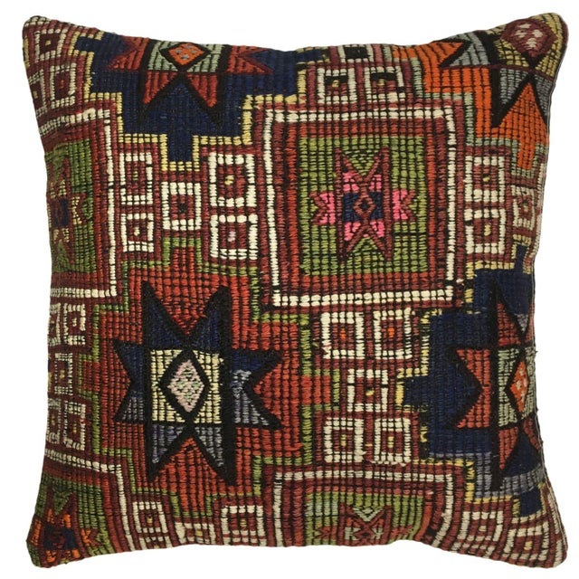"Boho Chic Rug & Relic Geometric Kilim Pillow | 20"" For Sale - Image 3 of 3"
