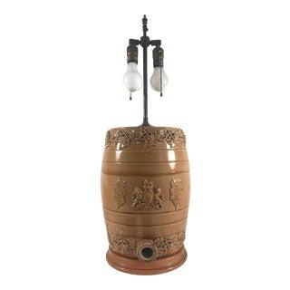 Mid 19th Century English Doulton Lambeth Style Salt Glaze Whiskey Barrel Lamp For Sale