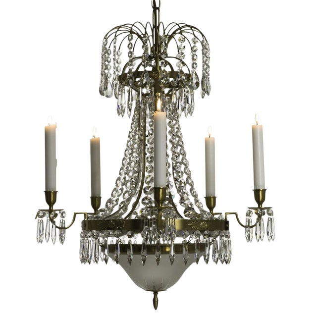 Classic Swedish Crystal Chandelier For Sale