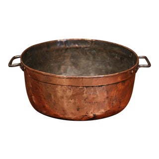 Mid-19th Century French Copper Jelly and Jam Boiling Bowl With Handles For Sale