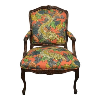 1930s Vintage Wooden Frame Robert Allen Ming Dragon Upholstery Chair For Sale