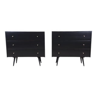 Paul McCobb Planner Group Black Lacquered Three Drawer Bachelor Chests or Large Nightstands, Newly Restored For Sale