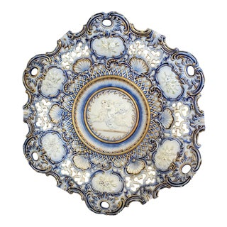 Late 19th Century Hugo Lonitz Majolica Wall Plate For Sale