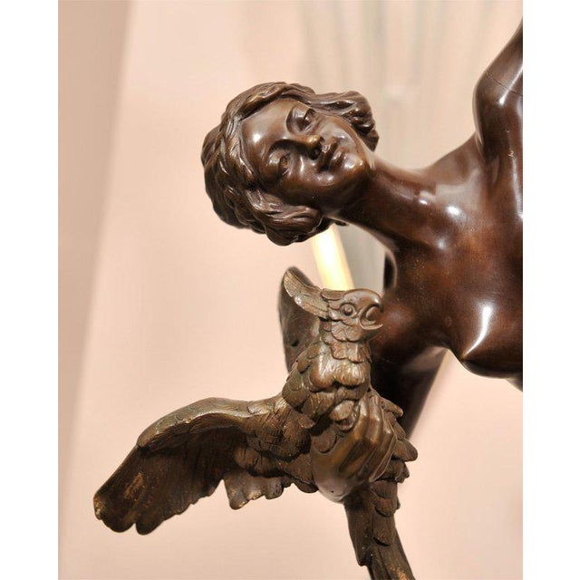 """""""Dancer with Parrots"""" (or """"Beside the Missouri""""),a French Art Deco bronze sculpture by Claire Jeanne Roberte Colinet..."""