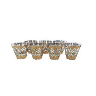 Vintage Blue and Gold Glass Cocktail Glasses - Set of 7