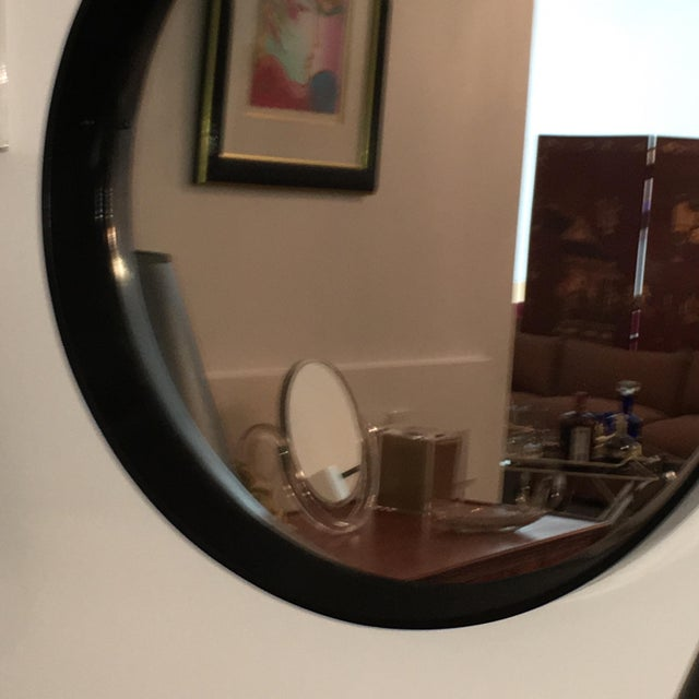 Mid Century Modern Jacques Adnet Style Black Lacquered Mirror with Copper Leather Strap - Image 3 of 8